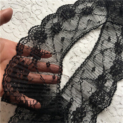 """5Yards Black Embroidery Pleated Scalloped Lace Trims Hemline Sewing 3.54"""" Width"""