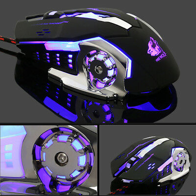 Wired LED Light 4000DPI Optical USB Ergonomic Gaming Mouse Pro Gamer Metal Plate