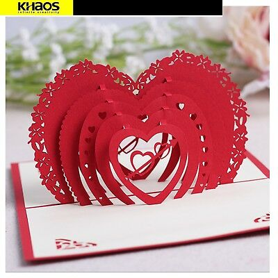 3d Pop Up Greeting Cards Cupid S Red Heart Valentines Day Love Gift