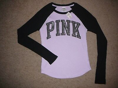 Victoria's Secret PINK Bling sequins baseball tee shirt top x-small purple black