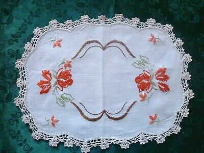 Vintage Hand Embroidered Large Doiley Orange Florals With Cream Crocheted Edge