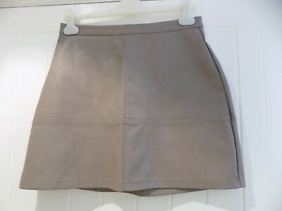 New look women's grey faux leather skirt size 12 WORN ONCE      ld