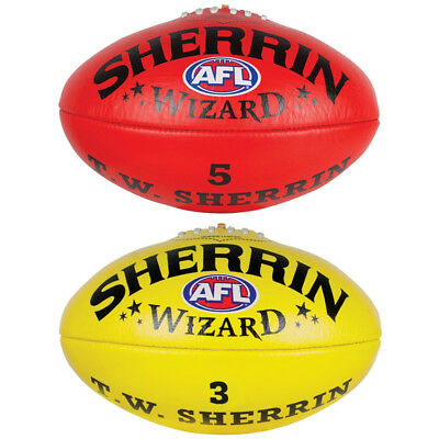 Sherrin Wizard AFL Leather Football In Yellow & Red Size 2,3, 4 & 5 From Sherrin