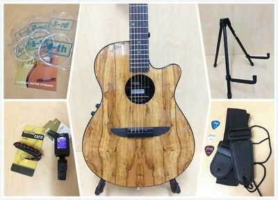 Haze 836CEQGC Acoustic/Classical Guitar Pack,Spalted Maple Graphic,Round-Back,EQ