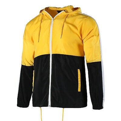 Beautiful Giant Men's Color Block Windbreaker With Hood Lightweight Gym Jacket
