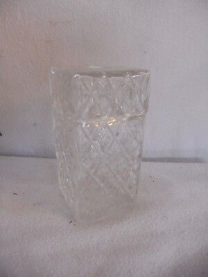 Glass LEAD CRYSTAL Cut Glass SQUARE VASE with DECORATIVE Etched Detail 13cms POT