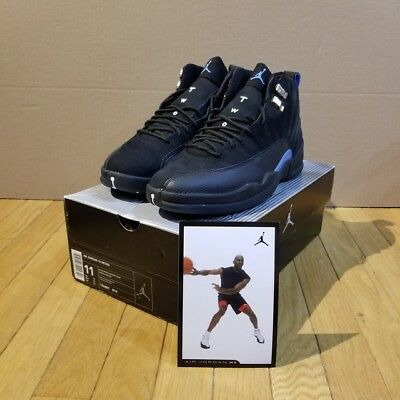 b7f5924b513 RARE New Air Jordan 12 XII Retro Black Nubuck Carolina Blue UNC 163001-014  Sz
