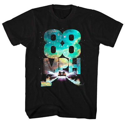 Back to the Future 88mph Galactic Speed Men's T Shirt Movie McFly Delorean Black
