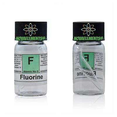 Fluorine gas element 9 sample mix with Helium mini ampoule and labeled vial