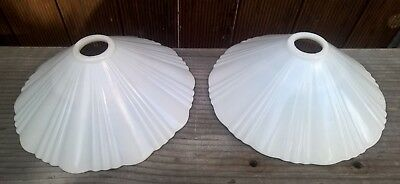 2 x Antique Milk Glass Ceiling Light Shades - Old Vintage Pendant Lamp