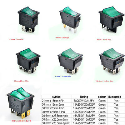 Green Illuminated Rectangle On-Off Rocker Switch(21mm x 15mm) To(30.6mm x 25.5mm