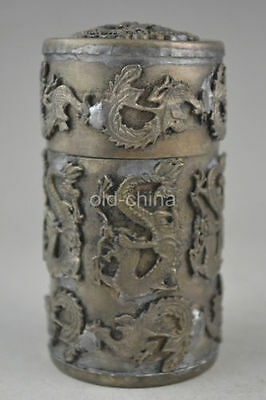 chinese old copper plating silver handwork carve dragon phoenix box
