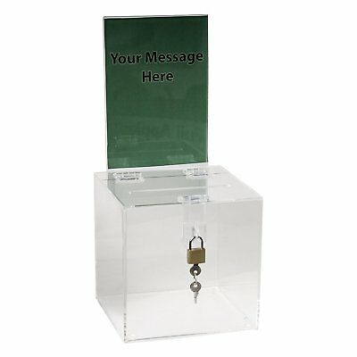 Clear-Ad - SBB-66-H - Acrylic Donation Box with Lock and Sign Holder - Plastic -