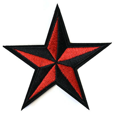 Nautical Star Iron On Patch Retro Rockabilly Red Black Embroidered Sew On