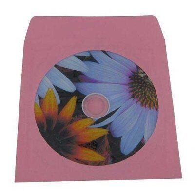 100 Pink Colored Paper CD / DVD Disc Sleeves With Flap & Window #CDIWWFPI - for