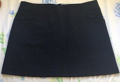 Joules Womens Aggie Mini Tweed Wool Skirt Size 14 Navy Chevron
