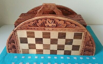 Handcrafted Wooden 2 In 1 Chess & Backgammon Foldable Board Game Set