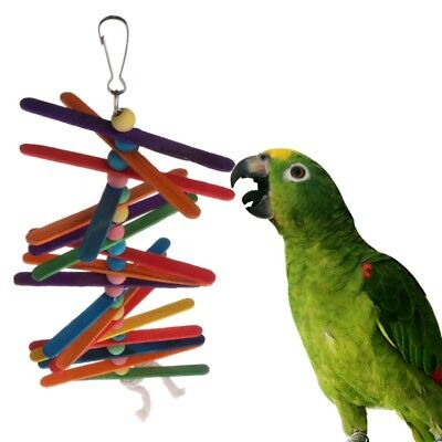Parrot Toy Colorful Wooden Popsicle Beads Bird Swing Rainbow Hanging Cage Funny