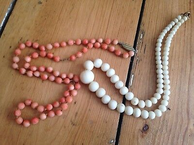Antique Chinese Coral Bead Necklace White And Pink