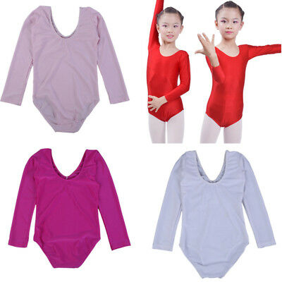 Kid Girls Long Sleeve Ballet Dance Leotards Suit Ballet Performance Dress Tights