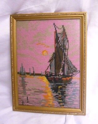"""Vintage CROSS STITCH Tapestry FRAMED Sunset BOAT Ocean SEA Nautical 13"""" WALL Art"""