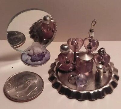 dollhouse miniatures handmade accessories vanity toiletry set with mirror