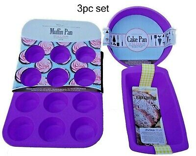 3 X Cup Cake Silicone Baking Tray Mould Set  For Muffin Chocolate Fondant S