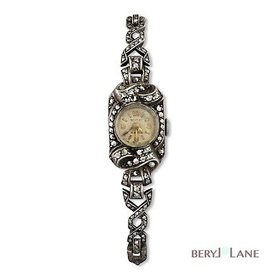 Vintage c1940-50's STERLING SILVER Bentley MARCASITE Cocktail WristWATCH working