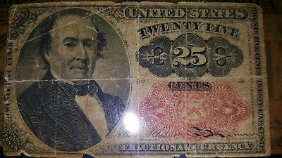 1874 United States of America 25 Cents Fractional Currency Note Paper Bill