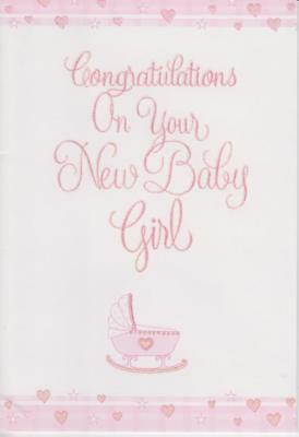 congratulations on your new baby girl glittery birth greeting card