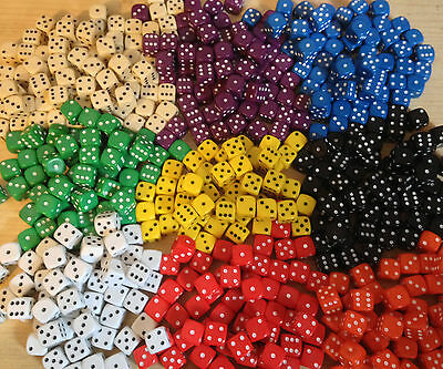 100 x 10mm Opaque Six Sided Spot Dice Games D6 9 Colours D&D RPG