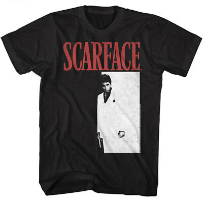Scarface Tony Montana Men's T Shirt Movie Poster Pacino Vintage Black Gangster