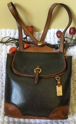 Vintage Dooney & Bourke Black Perforated Leather Brown Trim Backpack Made In USA