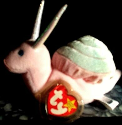 TY Beanie Babies SWIRLY THE SNAIL New Plush Stuffed Animal 7 Inch.