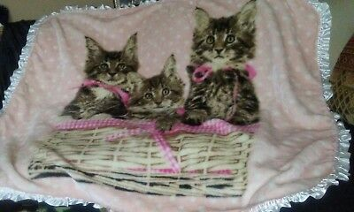 Shavel Home Products pink KITTEN Trio Throw Blanket soft fuzzy furry 3 kittens