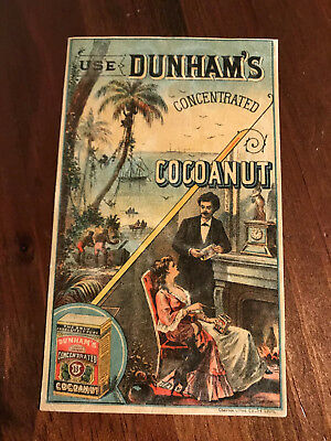 Antique Dunham's Concentrated Cocoanut Victorian Couple Advertising Trade Cards