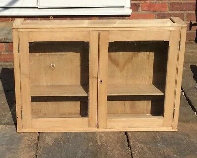 Antique Stripped Pine Original Glazed Wall Cabinet Genuine Edwardian Vintage