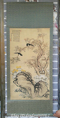 China hanging draw Hand drawing flower bird scenery calligraphy scroll painting