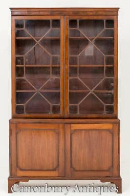 Mahogany Georgian Bookcase - Two Door Glazed Cabinet