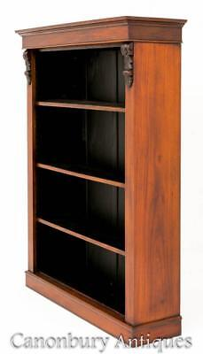 Victorian Open Bookcase - Antique Mahogany Bookcases 1860