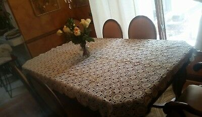 """Antique  Crocheted Tablecloth  83"""" X 57"""""""