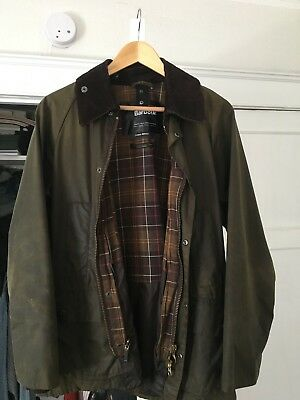 Classic Barbour Bedale Jacket - Size 38 (Small) in Green with hood