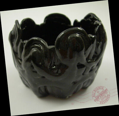 ABSTRACT Pitch Black Clay Coil Bowl Jelly Dish 2016 ARTS + CRAFTS pottery SIGNED