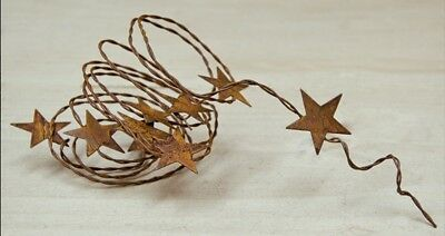 """72 inch Rustic Primitive Rusty Tin Stars 1/"""" Wrapped Wire Garland 6 feet Vintage"""