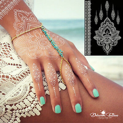 Temporary Tattoo White Henna,  Lotus Flower, Pendant, Lace, Hand, Womans, Girls