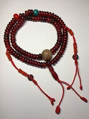 Old Chinese Tibetan bovine horn mala prayer 108 bead necklace with banded agate