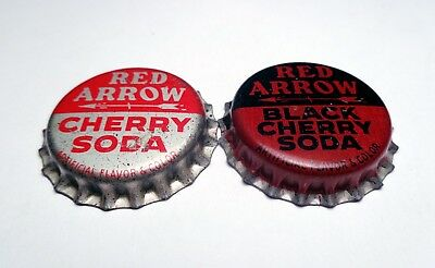 2 Cork lined Unused RED ARROW Cork Soda Bottle Caps Black Cherry & Cherry