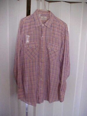 Vintage Dee Cee Western Cowboy Shirt Made In Usa Pearl Snaps 16 1/2 By 34 Nice