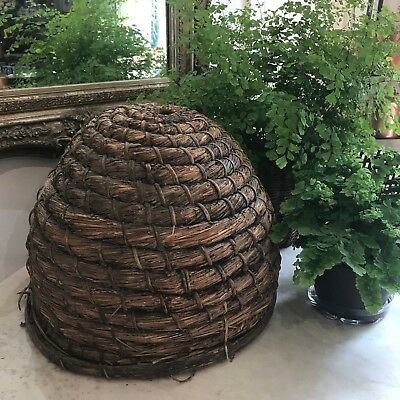 VERY RARE ANTIQUE BEE SKEP 19th C. Woven Rye Straw Skep on Oak Base 15x17