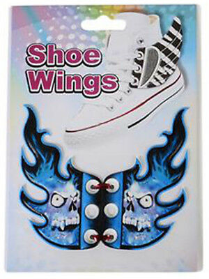 New Blue Skull Shoe Wings Sneaker Laces Costume Accessory